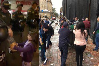 La niña que repartió pan a los policías en pleno paro y habitantes que limpian los desmanes