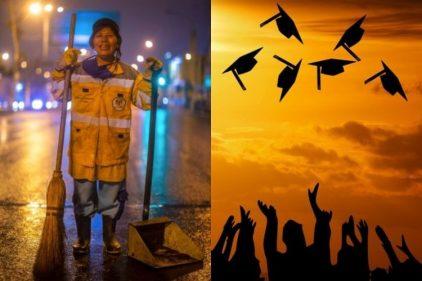 La madre que barre calles para lograr ver a su hija graduarse de la universidad