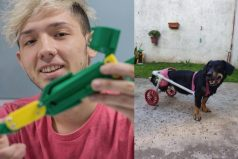 El joven que crea prótesis para perros y las regala a los necesitados