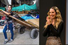 Claudia Bahamón da ejemplo y ayuda a los recicladores en las calles