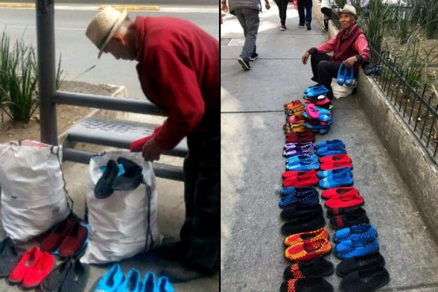 Abuelo vende zapatos tejidos y pide ayuda para que los conozcan en redes