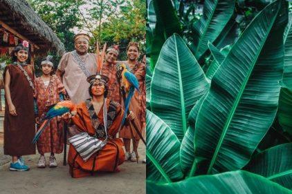 Indígenas fabricaron tapabocas con hojas de plátano para enfrentar al COVID-19