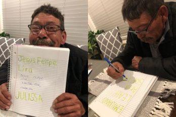 Abuelo aprende a escribir en la pandemia y muestra feliz los nombres de sus nietos