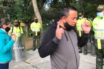 Con oraciones ciudadanos se unen a policías para rechazar actos violentos en Colombia