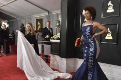 Grammy 2017: El polémico vestido de Joy Villa pro-Trump