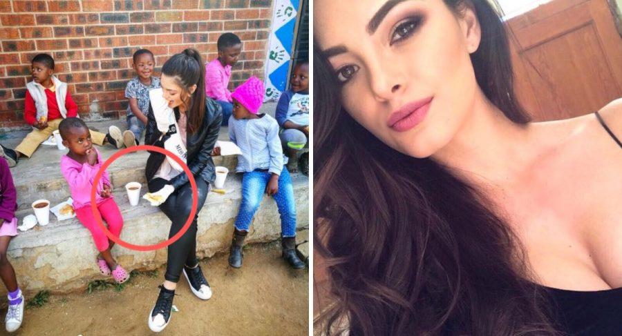 Miss Sudáfrica indigna al visitar orfanato de niños con VIH usando guantes. ¡Lo hizo por una noble razón!