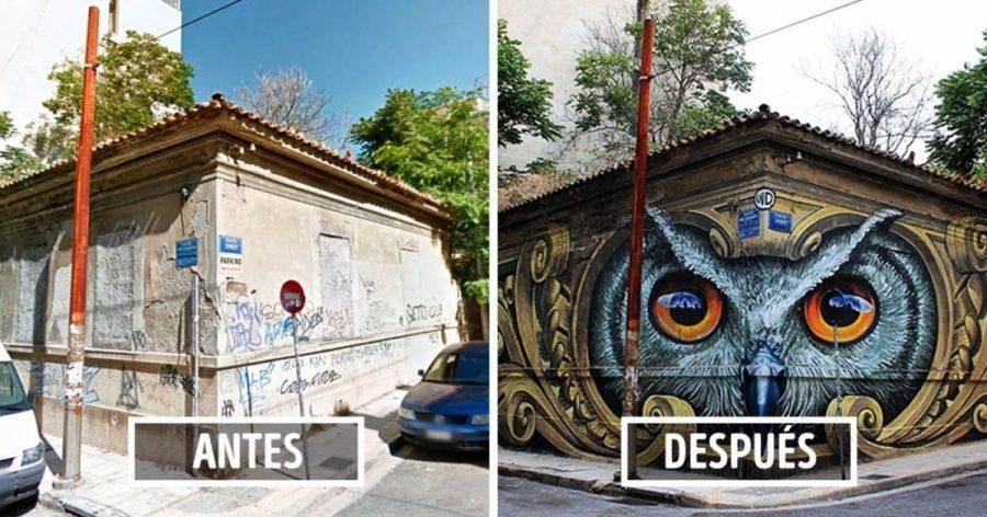 10Edificios antes ydespués dehaber sido transformados por elarte urbano